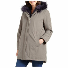 Four Seasons Faux Fur Trimmed Parka Coat, Mole/Navy