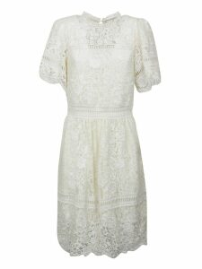 Sea Puff Sleeved Embroidered Lace Dress