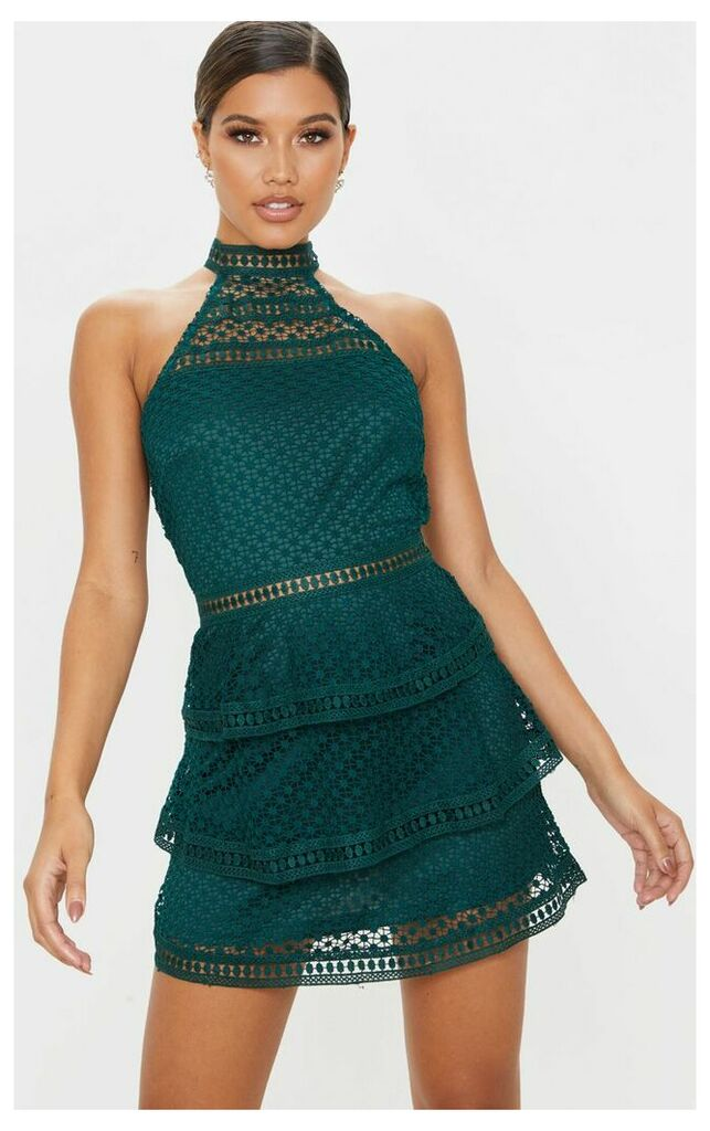 Emerald Green Lace Panel Tiered Bodycon Dress, Emerald Green