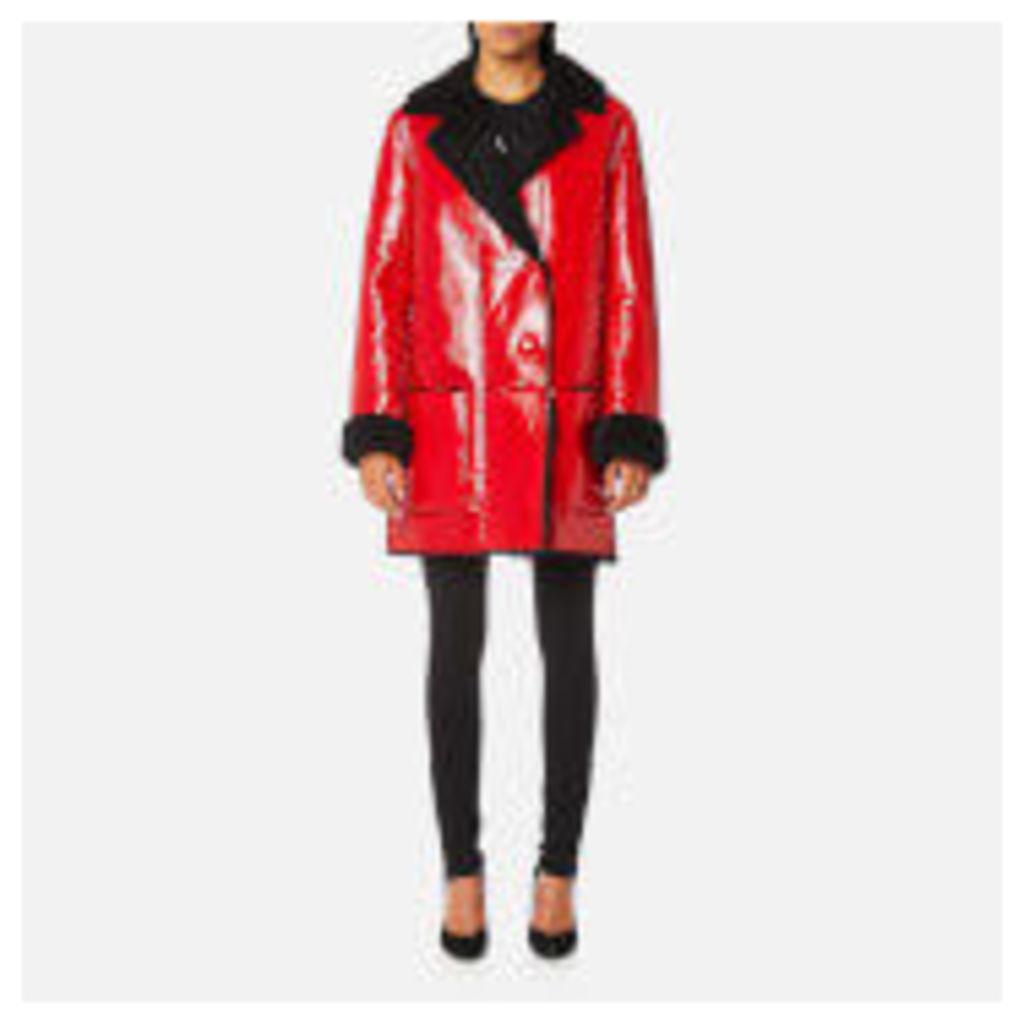 Christopher Kane Women's Patent Shearling Hip Length Coat - Black/Red