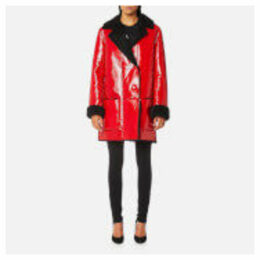 Christopher Kane Women's Patent Shearling Hip Length Coat - Black/Red - IT 42/UK 10 - Black/Red