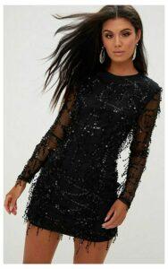 Black Sequin Detail Long Sleeve Mini Dress, Black