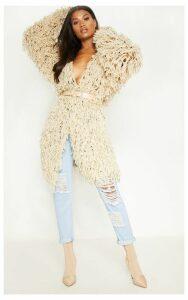 Stone Shaggy Knit Long line Cardigan, White