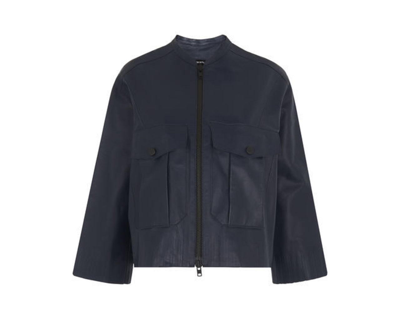Olive Leather Bomber