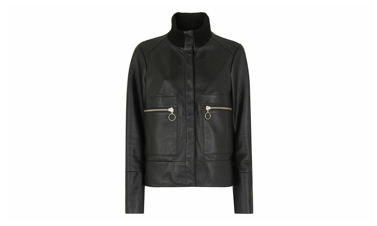 Rib Collar Leather Jacket