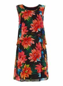 Womens *Roman Originals Black Floral Print Overlay Shift Dress, Black