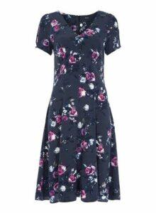 Womens *Roman Originals Navy Floral Print Tea Dress- Navy., Navy