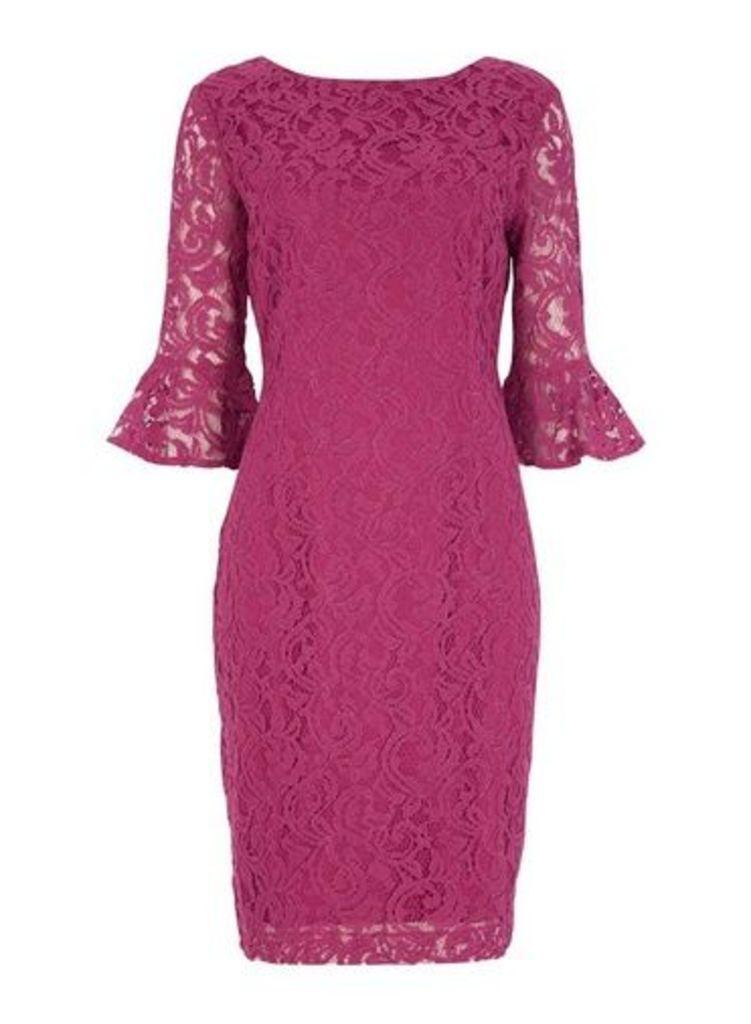Womens *Roman Originals Magenta Frill Sleeve Pencil Dress- Magenta, Magenta