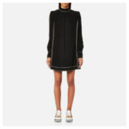Marc Jacobs Women's Mock Neck Long Sleeve Shift Dress - Black