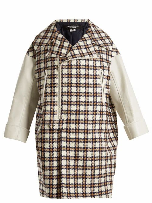 Junya Watanabe - Leather Trimmed Hound's Tooth Wool Blend Coat - Womens - White Multi