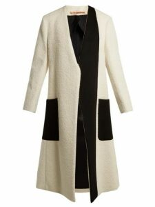 Summa - Collarless Bi Colour Coat - Womens - White Black