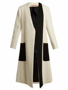 Summa - Collarless Bi-colour Coat - Womens - White Black