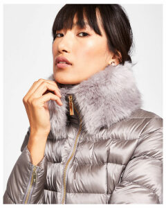 Ted Baker Faux fur collar quilted jacket Light Grey