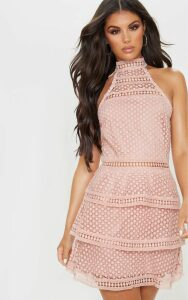 Dusty Pink Lace Panel Tiered Bodycon Dress, Dusty Pink
