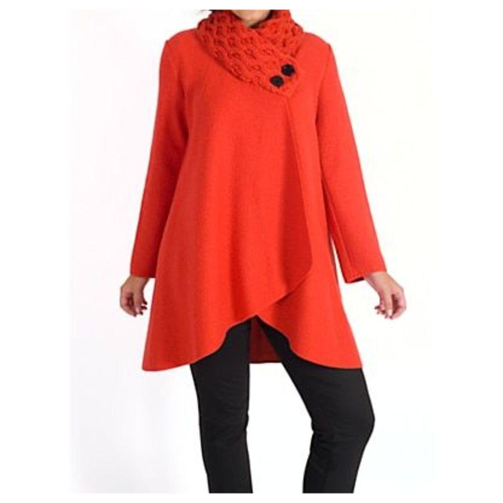 Chesca Arran Collar Coat, Orange