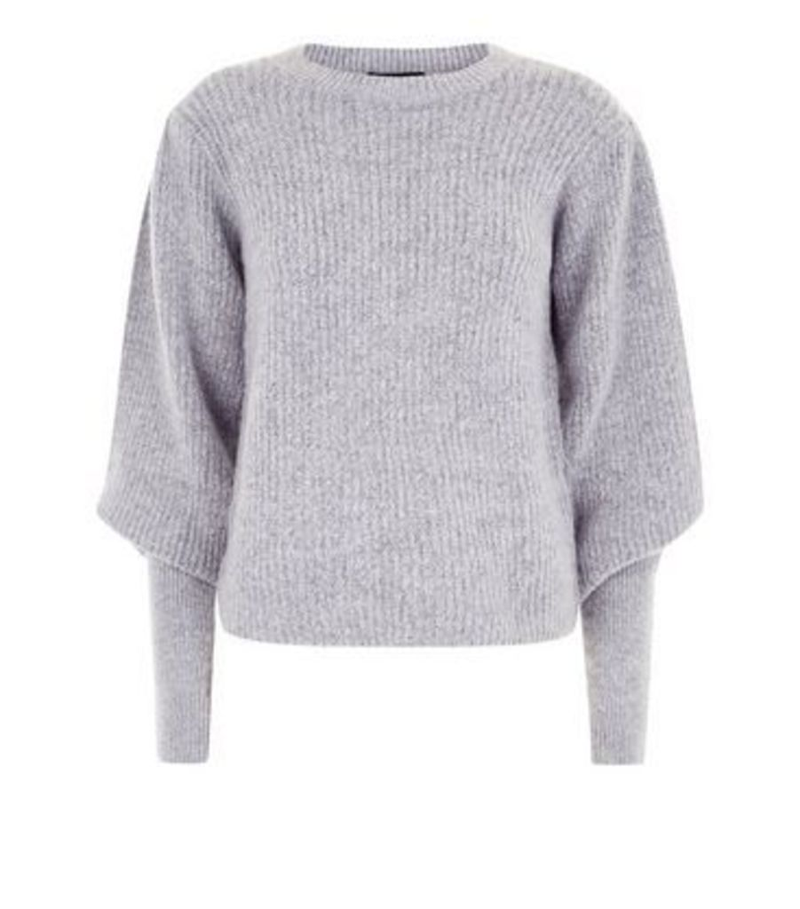 Grey Ribbed Balloon Sleeve Jumper New Look
