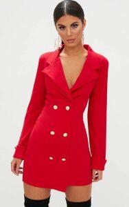 Red Gold Button Detail Blazer Dress, Red