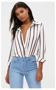White Satin Stripe Shirt, White