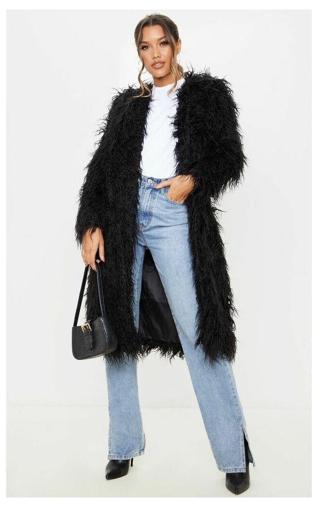 Black Shaggy Longline Faux Fur Coat, Black