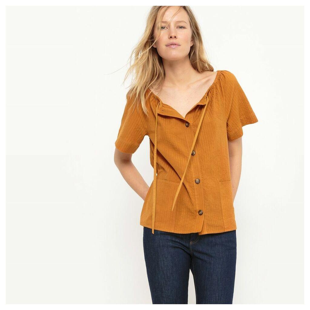 Bardot Style Button Up Blouse