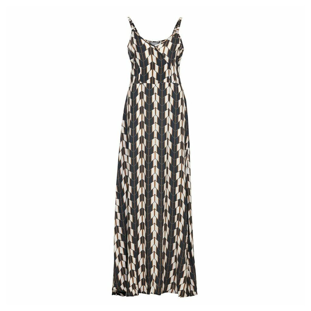 Printed Maxi Dress with Shoestring Straps