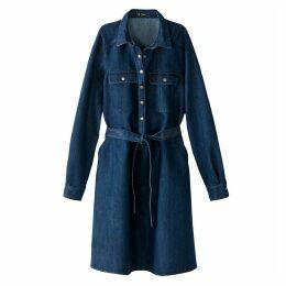 Buttoned Denim Dress with Belt
