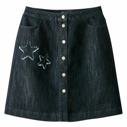 Denim Skirt with Embroidered Stars