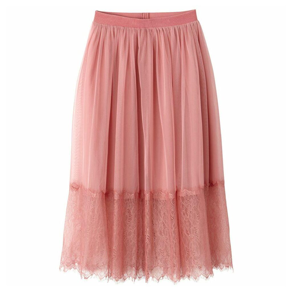 Lace Mesh Midi Skirt