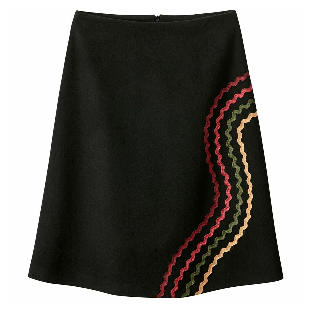 Embroidered Wool Blend Skirt
