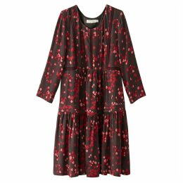 Graphic Print Smock Dress with Embroidery