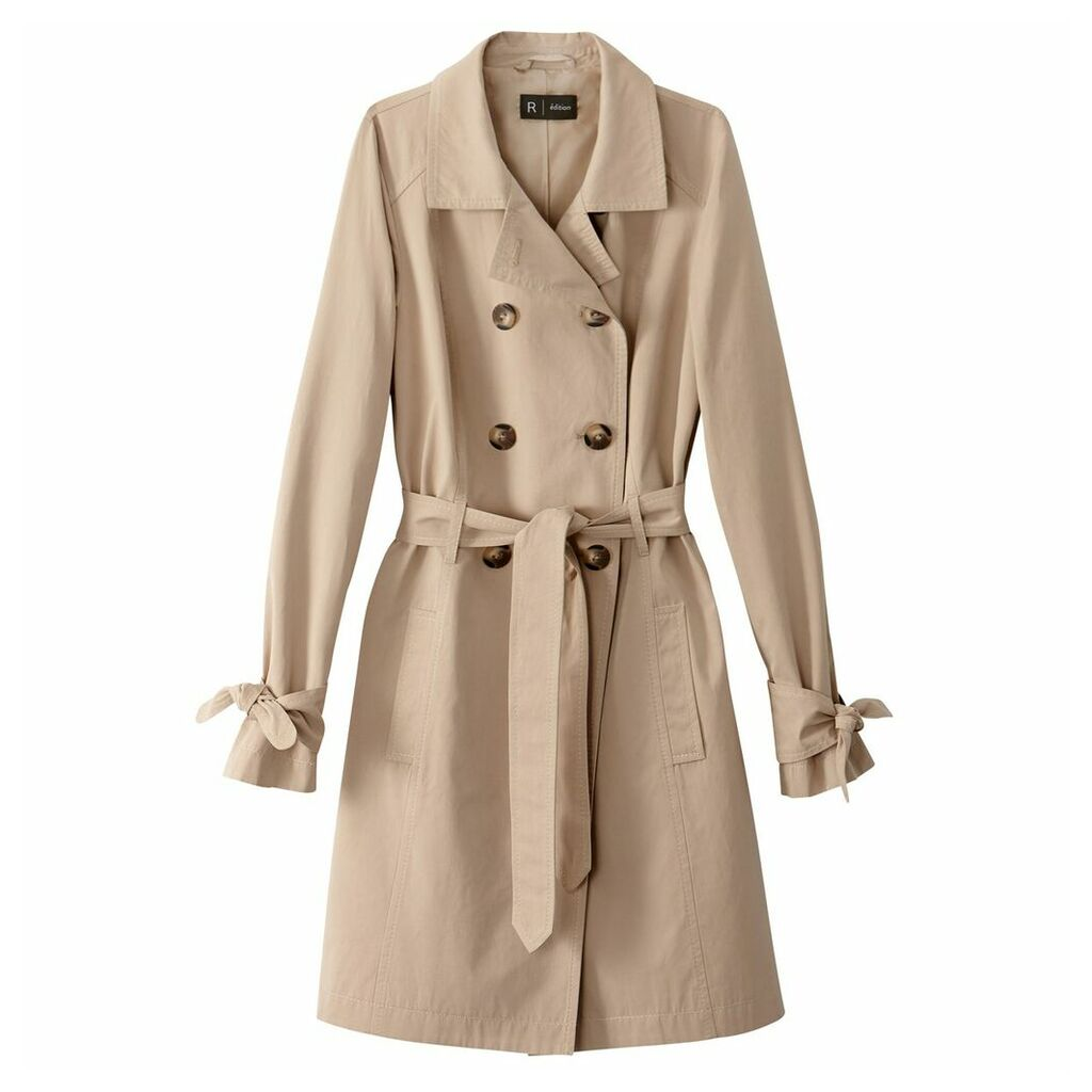 Trench Coat with Sleeve Bows