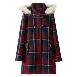 Checked Duffle Coat with Faux Fur Hood