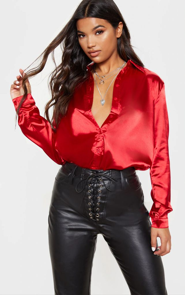Red Satin Button Front Shirt, Red
