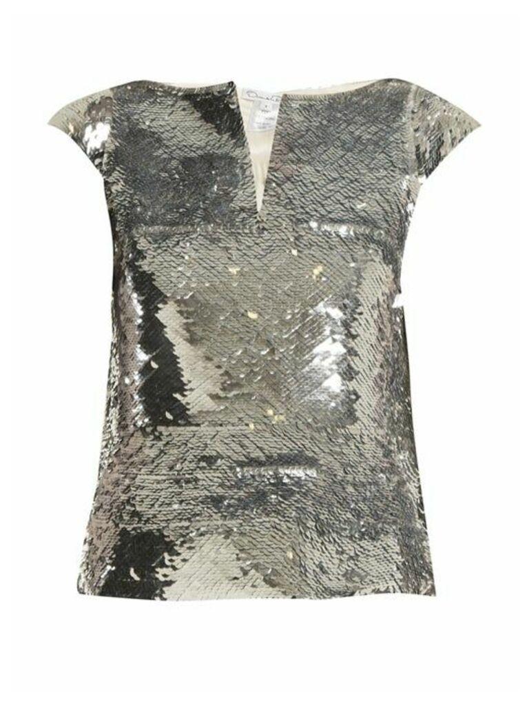Oscar De La Renta - V Neck Sequin Embellished Top - Womens - Silver