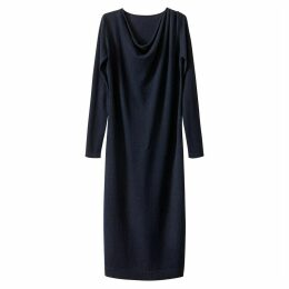 Merino Wool Blend Cowl Neck Dress