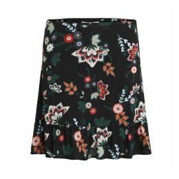 Floral Print Skirt with Frilled Hem