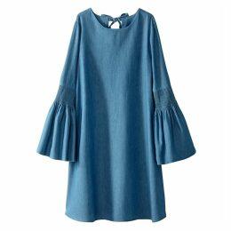 Cotton Dress with Peplum Sleeves
