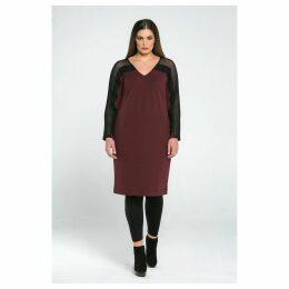 Dress with Mesh Sleeves & Ruffles