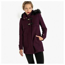 Wool Mix Duffle Coat with Removable Faux Fur Collar