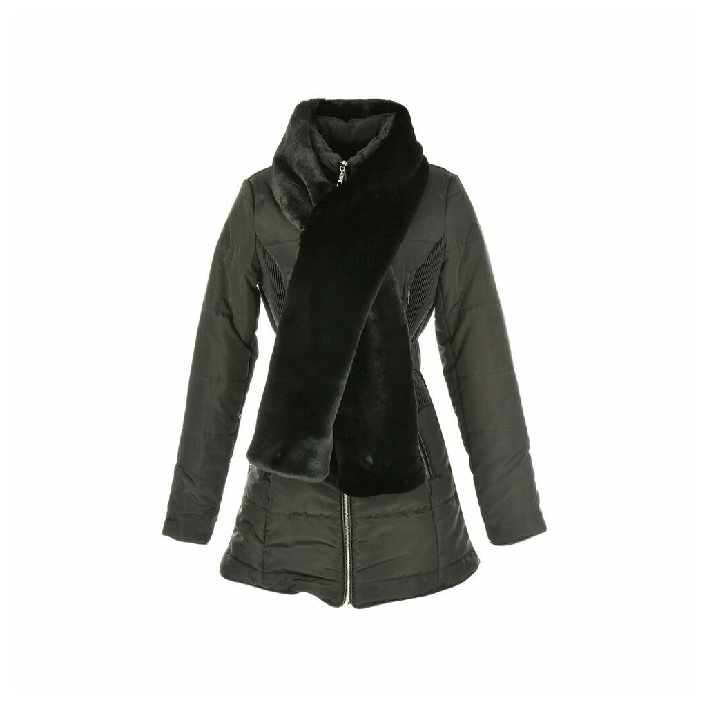Padded Coat with Long Faux Fur Collar