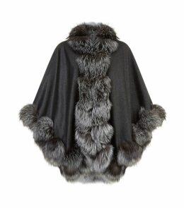 Lisa Petite Fur-Trimmed Cape