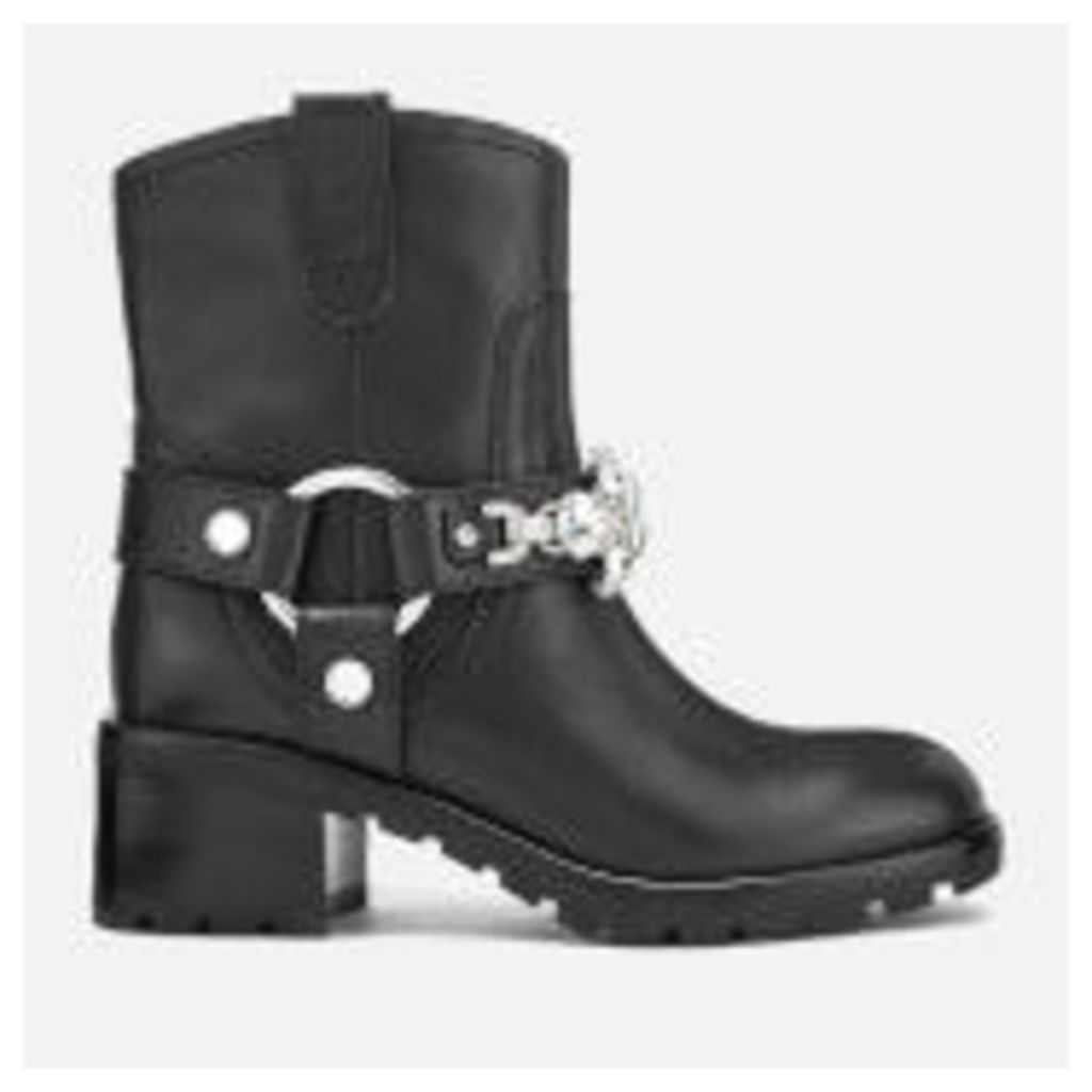 Marc Jacobs Women's Campbell Leather Embellished Biker Boots - Black
