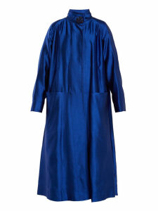 Roksanda - Karel High Neck Wool Blend Coat - Womens - Blue
