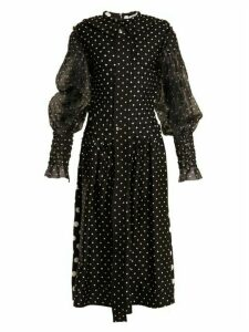 Loewe - Polka Dot Print Smocked Silk And Cotton Dress - Womens - Black