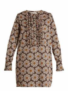 La Doublej - The Tuxedo Cotton Blend Mini Dress - Womens - Brown Multi