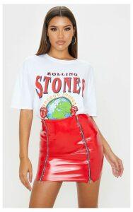 Red Vinyl Double Zip Mini Skirt, Red