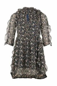 Frill Floral Tea Dress