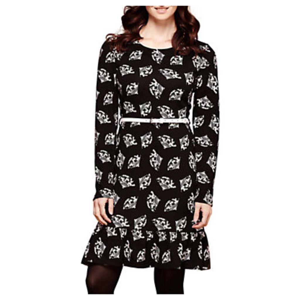 Yumi Fan Print Skater Dress, Black