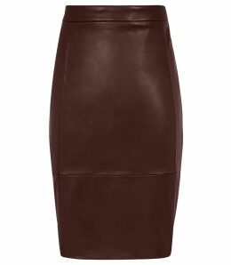 Reiss Olivia - Stretch Panel Leather Skirt in Ox Blood, Womens, Size 14
