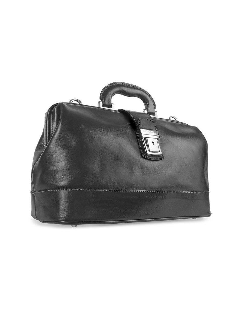 Chiarugi Designer Briefcases, Black Genuine Italian Leather Doctor Bag